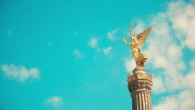 Viewing platform and golden statue atop famous Berlin Victory Column, Germany Royalty Free Stock Images