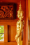 A golden statue of Buddha in a main hall Royalty Free Stock Photography
