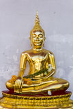 Golden Statue of Buddha at thai temple in Bangkok, Thailand, The Royalty Free Stock Photography