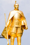 Golden statue of famous warlord and city founder Oda Nobunaga in front of JR Gifu station Stock Image