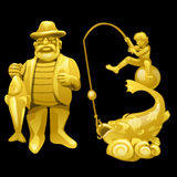 Golden statue of a fisherman with catch Stock Photography
