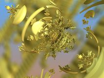 Golden statue fractal. 3D rendering Stock Photo
