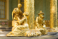Golden statue in front the Chinese house. The Chinese House is a garden pavilion in Sanssouci Park in Potsdam, Germany Stock Images
