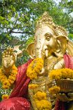 Golden statue of Ganesha. The Elephant headed god of luck and prosperity Stock Photography