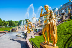 Golden statue at Grand cascade fountains, St. Petersburg, Russia Stock Photography