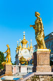 Golden statue at Grand cascade fountains in Petergof, St. Petersburg, Russia Royalty Free Stock Image