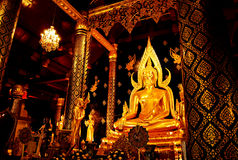 Golden statue , Image of Buddha in Temple Royalty Free Stock Images