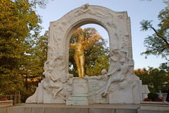 Golden statue of Johann Strauss, Vienna, Austria. Famous golden statue of Johann Strauss at Stadtpark in Vienna, Austria. The monument was created in 1921 Royalty Free Stock Images