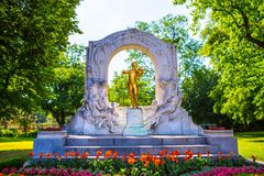 Golden statue of Johann Strauss, Vienna Royalty Free Stock Images