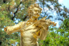 Golden statue of Johann Strauss Royalty Free Stock Images