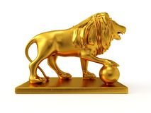 Golden statue of a lion (right view) Royalty Free Stock Photography