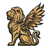 Golden statue of a lion with wings. Mythological golden statue of a lion with wings. Vector illustration Stock Photo