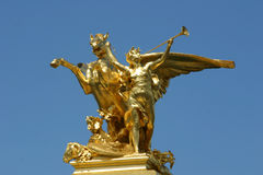 Golden Statue, Paris. A golden statue in central Paris Royalty Free Stock Photography