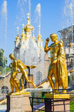 Golden statue in Petergof, St Petersburg, Russia. Golden statue at Grand cascade fountains in Petergof, St Petersburg, Russia Stock Photo