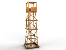 Golden statue of a prison camp tower Stock Image