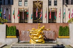 Golden Statue, Rockefeller Center, New York, USA. The Golden Statue of Prometheus near the, Rockefeller Center in New York, USA Stock Image