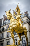 The golden statue of Saint Joan of Arc. On the Rue de Rivoli in Paris, France Stock Image