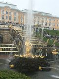Golden statue at Peterhof royalty free stock photography
