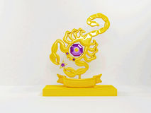 Golden statue of a scorpion Royalty Free Stock Photos
