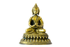 Golden statue of small buddha praying and meditating on white background Stock Photos