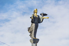 Golden Statue of St. Sofia in Sofia, Bulgaria Stock Images