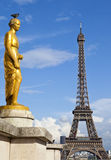 Golden Statue at the Trocadero and Eiffel Tower Stock Photo
