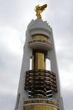 Golden statue of Turkmenbashi, Ashgabat, Turkmenistan royalty free stock images