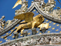 Golden statue of winged Lion, symbol of the serenissima Republic Royalty Free Stock Photo
