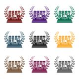 Golden statue with a wreath and inscription.The prize for best film.Movie awards single icon in black style vector Stock Photo