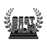 Golden statue with a wreath and inscription.The prize for best film.Movie awards single icon in black style vector Royalty Free Stock Photography