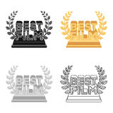 Golden statue with a wreath and inscription.The prize for best film.Movie awards single icon in cartoon style vector. Symbol stock web illustration Stock Photo