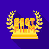 Golden statue with a wreath and inscription.The prize for best film.Movie awards single icon in flat style vector symbol. Stock web illustration Royalty Free Stock Images
