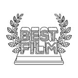 Golden statue with a wreath and inscription.The prize for best film.Movie awards single icon in outline style vector Stock Images