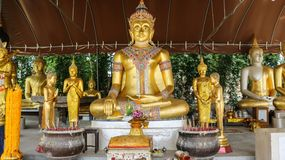 Golden statues of Buddha. stock photography