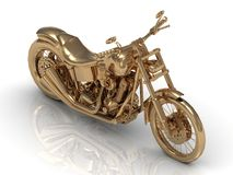 Golden statuette of a powerful motorcycle Stock Images