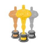 Golden statuette. Set of statuettes for rewarding. Gold, silver Stock Photo
