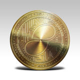 Golden status coin isolated on white background 3d rendering. Illustration Stock Image