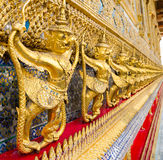 Golden staute of Garuda right side at Emerald Buddha temple, Kin Royalty Free Stock Photo