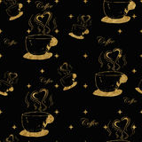Golden steamy cups of coffee Stock Images