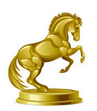 Golden steed. On a white background Stock Photos