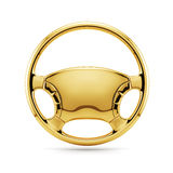 Golden steering wheel. 3d render of golden steering wheel isolated Royalty Free Stock Image