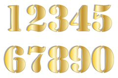 Golden Stencil Numbers Royalty Free Stock Images