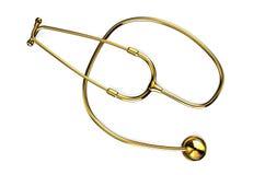 Golden stethoscope. Isolated on white background Royalty Free Stock Images