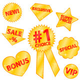 Golden stickers. Eight golden stickers for your website or shop royalty free illustration