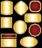 Golden stickers and medals. Colelction Royalty Free Stock Photos