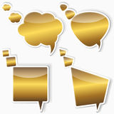 Golden stickers from speech bubbles. Stock Image