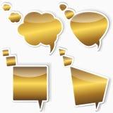 Golden stickers from speech bubbles. Set of golden stickers from speech bubbles Stock Image