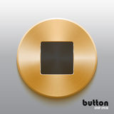 Golden stop button with black symbol. Round stop button with black symbol and brushed golden metal texture isolated on gray background Royalty Free Stock Images