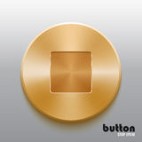 Golden stop button. Round stop button with brushed golden metal texture isolated on gray background Royalty Free Stock Images