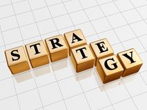Golden strategy. 3d golden boxes with text - strategy, word Royalty Free Stock Images